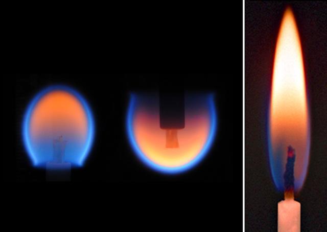 蜡烛的火焰在地面和太空中区别。