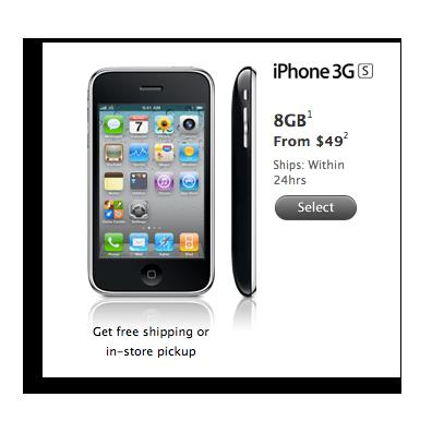 苹果下调iPhone 3GS售价至49美元