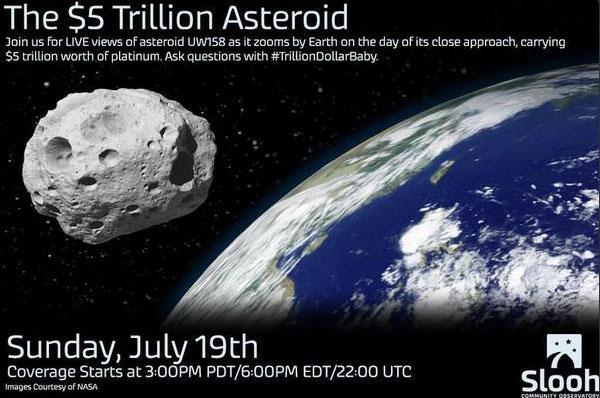 铂金小行星今天早晨6点半已掠过地球