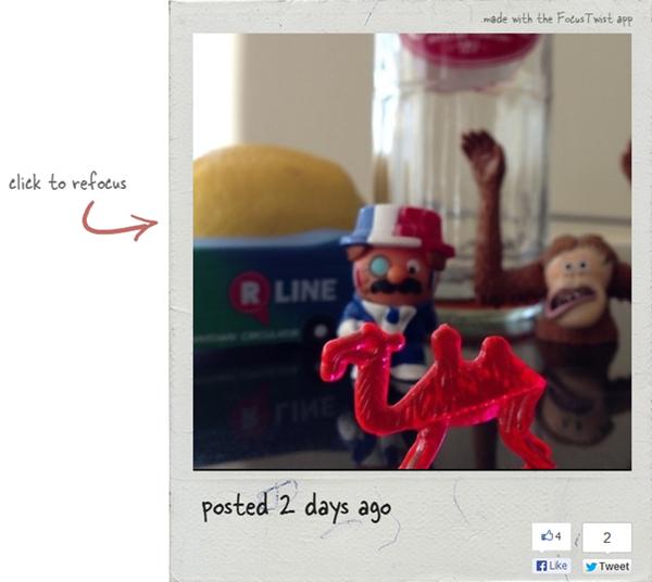Twist mimics拍摄的照片同样可以在后期编辑时重新对焦