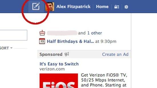 Facebook测试新按钮:可在任何页面上发帖