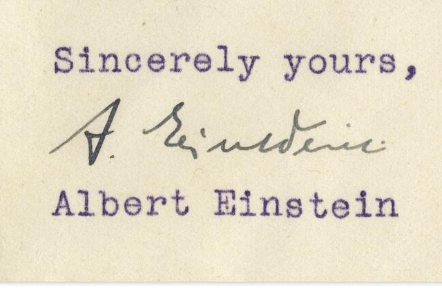 爱因斯坦70年前信件售价12.5万美元