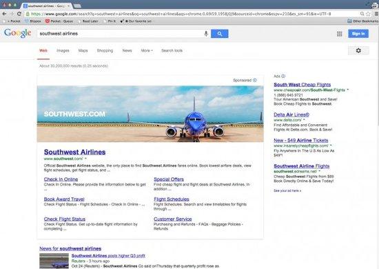 美国西南航空公司的横幅广告(腾讯科技配图)