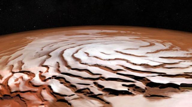 欧洲航天局最新发布火星北极冰盖合成图像