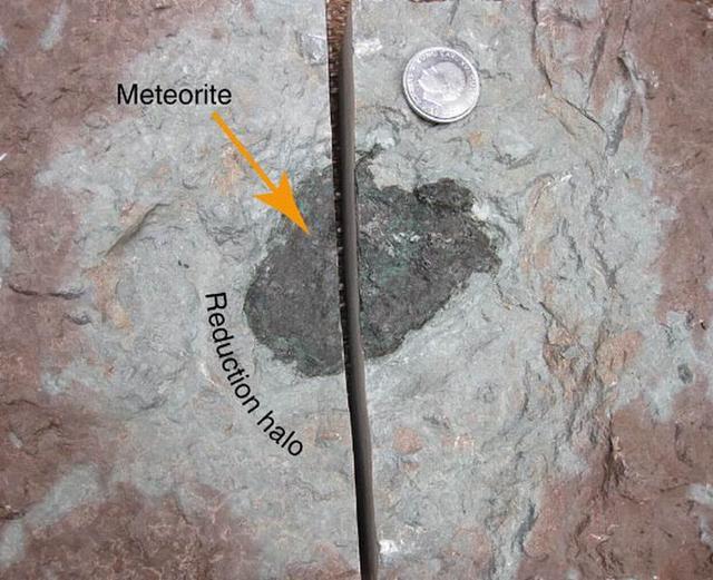 """如图所示,这是在瑞典采石场发现的一种新类型陨石样本,科学家称该类型陨石已""""灭绝"""""""