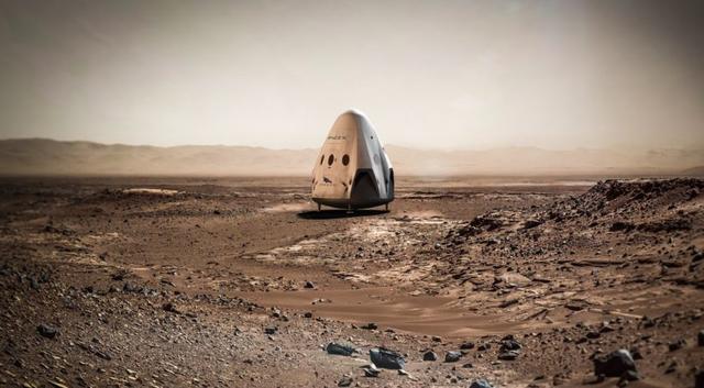 018年着陆在火星上的红龙飞船,它将是人类载人火星任务的先导.