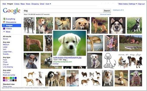 谷歌图片搜索改版 部分创意仿效必应(图)