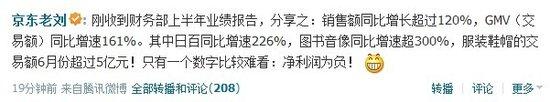 刘强东公布京东上半年业绩:净利润仍为负