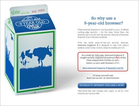 微软称IE6像陈年牛奶 督促用户尽早放弃(图)