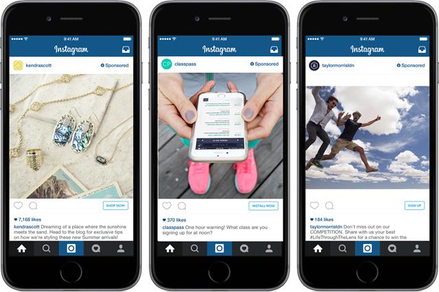 (Instagram常见的广告形态,左起依次为:电商推广、应用安装推广和互动推广)