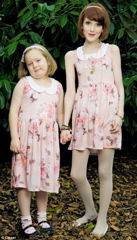 丽贝卡因常年患有厌食症,目前体重只有63.5斤,如果与自己7岁的女儿梅西穿一样的衣服,看上去就像一对姐妹