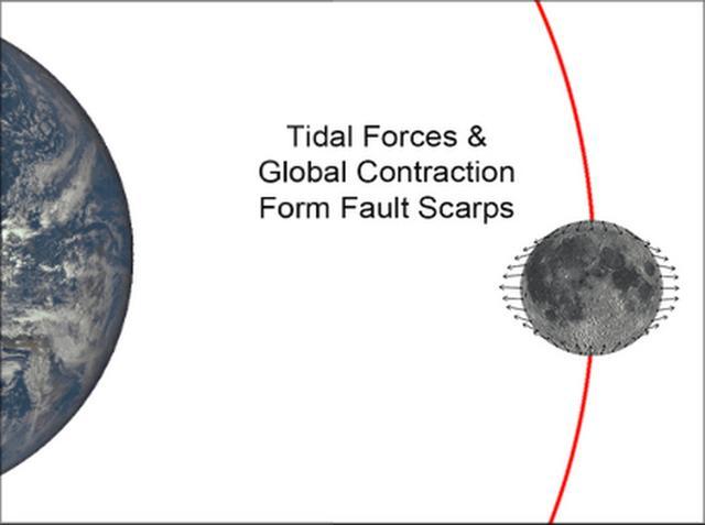 地球引力可能导致月球萎缩表面出现裂缝