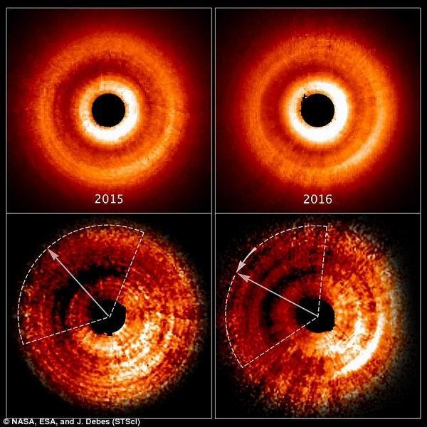 神秘扭曲气体灰尘盘中可能隐藏年轻恒星系统