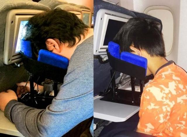 飞机上这么睡才舒服 没错,就是脸朝下