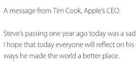 苹果CEO库克发纪念乔布斯文章