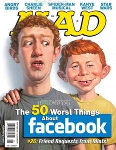 Facebook创始人登上美国幽默杂志MAD封面