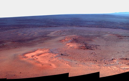 """""""机遇号""""火星车苏醒 拍摄到陨坑蓝色薄雾"""