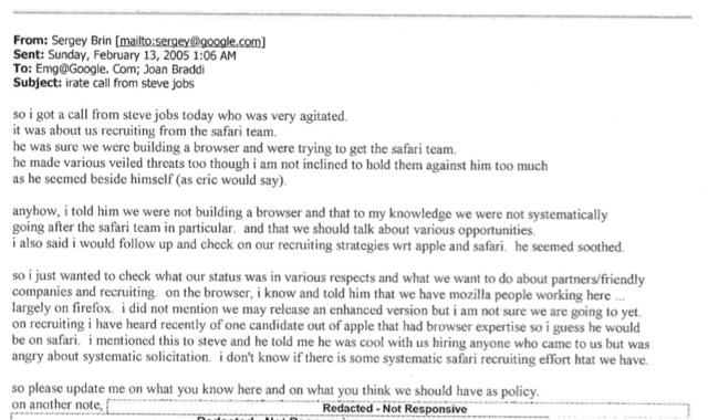 苹果谷歌互不挖角秘密邮件曝光 乔布斯曾震怒