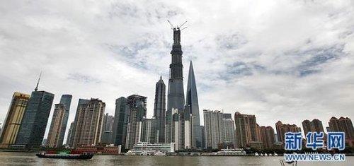 中国第一高楼 上海中心 封顶 共125层高580米
