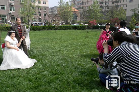 天津古稀老人拍婚纱照 享受金婚幸福