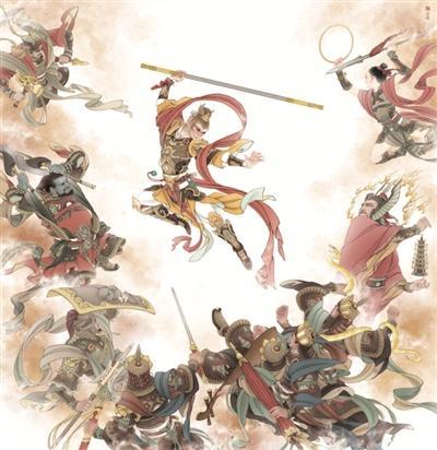 南大教师笔下的孙悟空 数字艺术与中国画结合图片