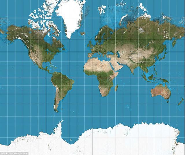 比如谷歌地图使用了被人们熟知的墨卡投摄影法.