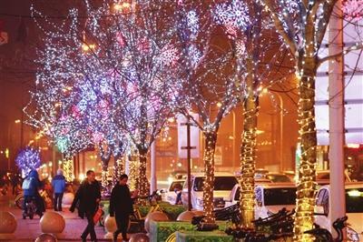 天津新年夜景灯亮起 营造出冬日温暖的氛围