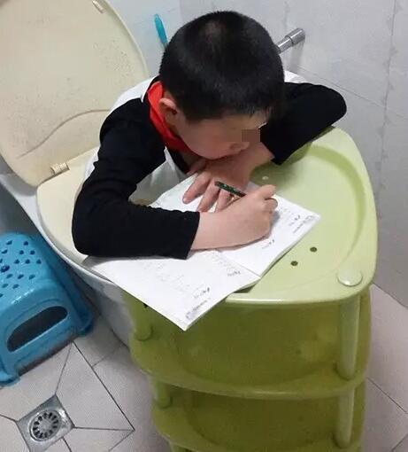 笑晕!小学生蹲马桶不忘写作业 网友:是有多爱学习