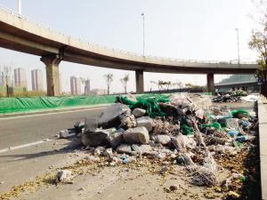 河西区台儿庄路成垃圾存放场 导致不少车辆托底