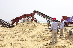 东疆湾沙滩排球场地 筛细沙 迎全运