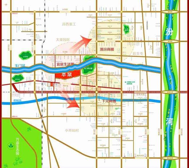 优惠 评盘 看房 资讯 社区 评测  交通配套:太原市迎泽西大街与前进路图片