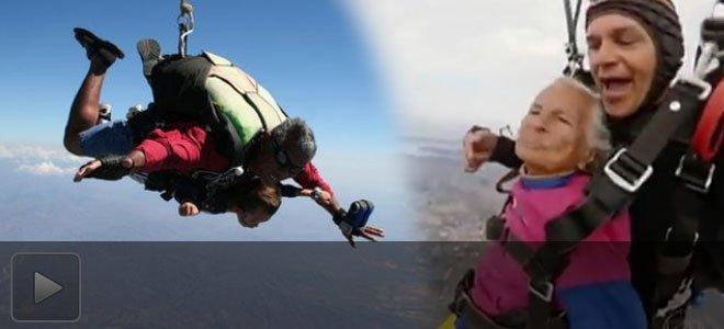 强悍!巴西103岁老妪完成高空跳伞 打破世界纪录