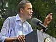 奥巴马雨中湿身演讲