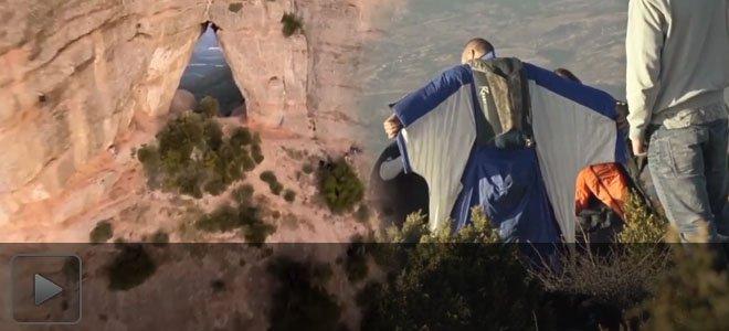 牛人滑翔衣最危险挑战 高空肉身直落穿越狭窄山洞