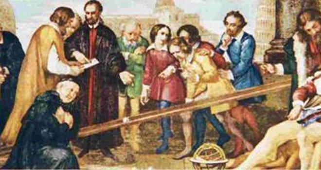 画家笔下,正在做斜面实验的伽利略