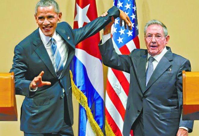 劳尔・卡斯特罗和奥巴马会面