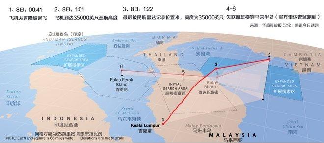 现有消息已经确定失联飞机曾横跨马来半岛