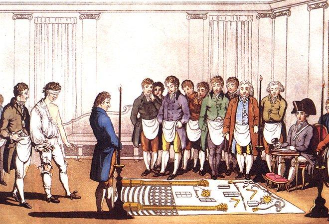 18世纪,共济会的入会仪式