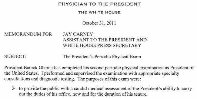 奥巴马2011年公布的体检报告