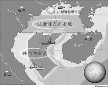 中越北部湾划界协定线及共同渔区示意图