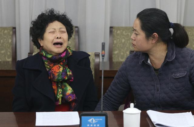 马超群母亲张桂英在秦皇岛举行新闻发布会。