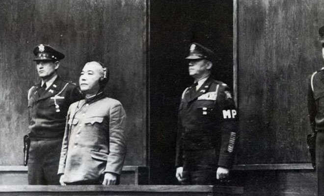武藤章在东京审判的法庭上。