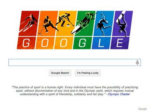 """冬奥会开幕当天,谷歌便在首页以代表同性恋者的""""彩虹""""图标声讨俄罗斯"""