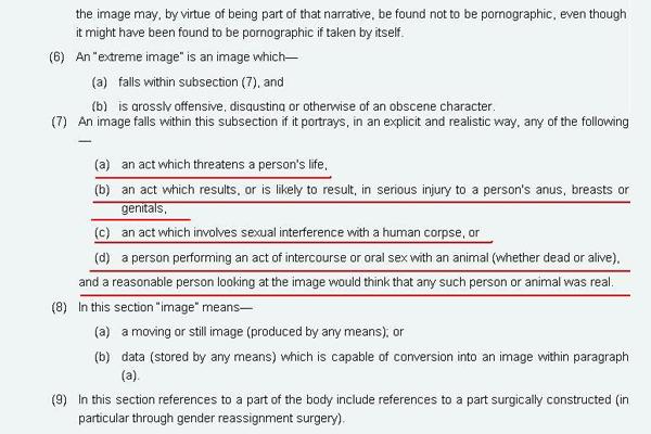 英国禁止极端色情法条