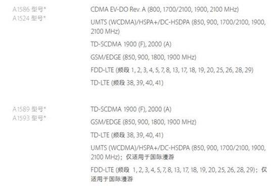 iPhone6全网通(上面一组)和单支持TD(下面一组)的两组机型