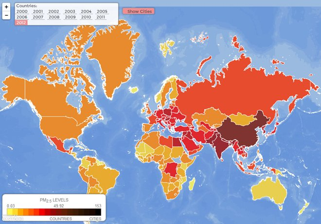 EPI发布的全球PM2.5地图