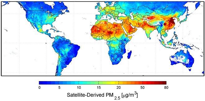 NASA发布的全球PM2.5地图