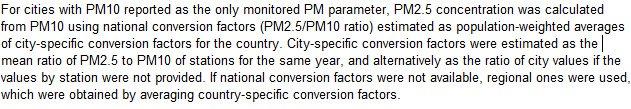WHO的注释中指明由于监测不全,PM2.5由PM10推导