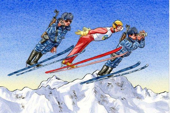 《华尔街日报》讽刺索契冬奥会的漫画