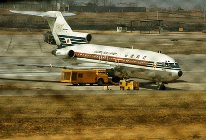 """1970年降落在韩国金浦机场的日航""""淀""""号客机,之后飞往朝鲜"""